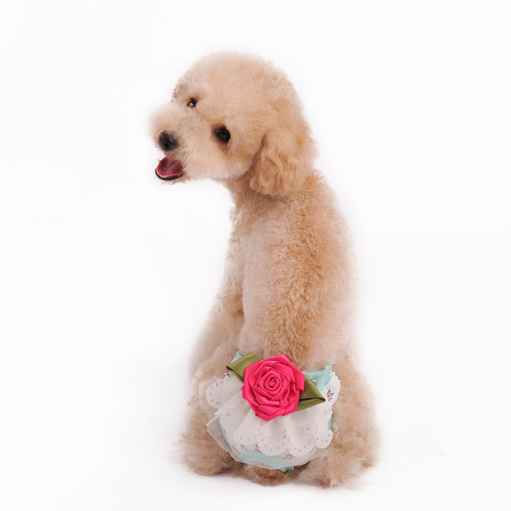S/M/L/XL Cute Rose Pet Dog Sanitary Floral Pants Panty In Season For Female Cotton Blend #01