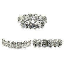 14K Gold Teeth Silver Plated With Diamond Teeth Grillz Top Bottom Iced Out CZ Hip Hop Tooth Cap Grill Set