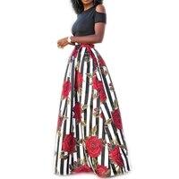 Two Pieces Women Maxi Dresses Short Sleeve Black Top Robe Longue Flower Floral Dress Vestidos Long