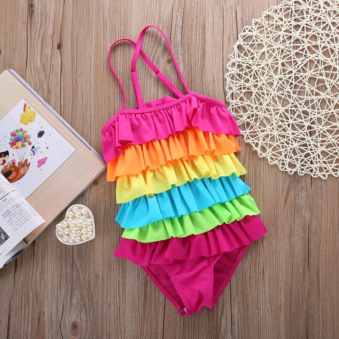 Summer Toddler Kids Girls Bathing Suit Rainbow Bikini Swimwear Swimsuit Swimming Costume Lights & Lighting