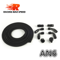 AN6 Oil Fuel Fittings Black Hose End Oil Adaptor Kit AN6 Nylon Braided Black Hose Oil Fuel Hose Line 3M