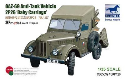 Bronco modelo CB35099 1/35 GAZ-69 Anti tanque veículo 2P26 'Baby Carriage'