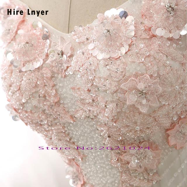 NAJOWPJG Off The Shoulder Short Sleeve Lace Up Princess Wedding Dress  Gelinlik 2019 Pink Flowers Appliques 33812819a43d