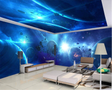 beibehang Custom Indoor Silk Cloth Wall paper Cool Starry Theme Space House Zenith Painting wallpaper for walls 3 d behang