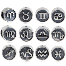 Authentic 925 Sterling Silver 12 Constellation Bead Charms Zodiac Beads Fit Original Pandora Bracelets Necklace DIY Jewelry