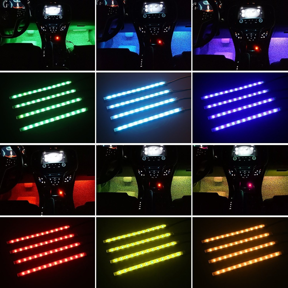 Car led strip light multicolor music car interior lights led car led strip light multicolor music car interior lights led lighting kit dc12v with sound active function and wireless remote in led strips from lights mozeypictures Images
