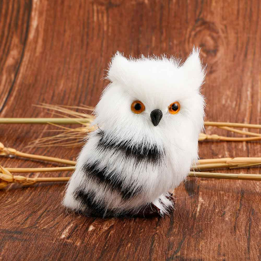 1 Pcs Mini Lovely Simulation White Black Furry nighthawk Home Creative Decoration Christmas Bird Ornament Kid's Gift