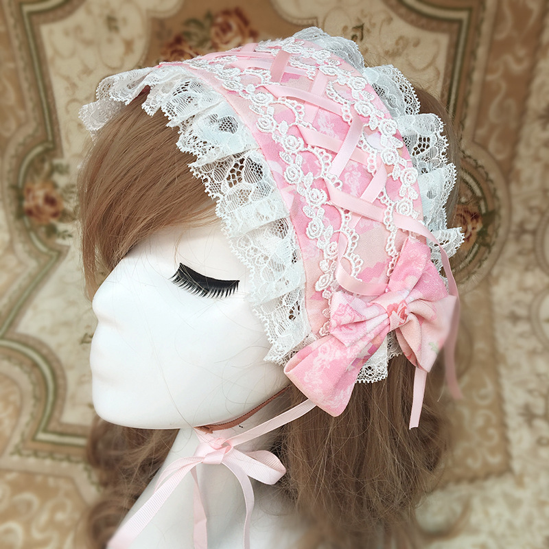Lolita Headdress Sweet Headband Lace Bow Printing Ribbon Hoop Printing Hair Accessories  for Women