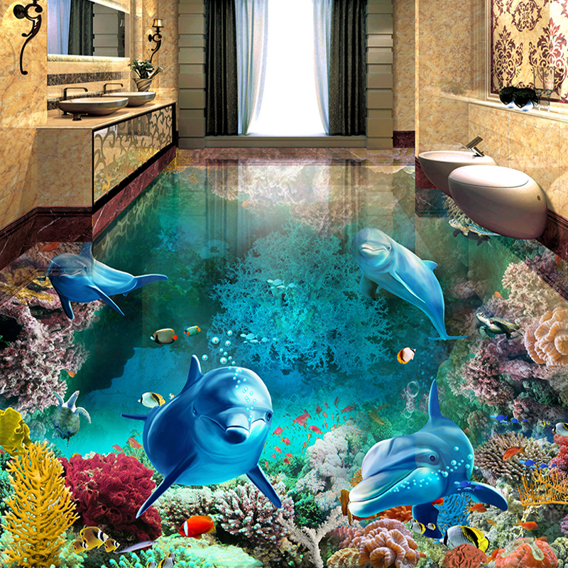 Custom 3D Floor Painting Mural Photo Wallpaper Underwater World Dolphin Living Room Bathroom PVC Waterproof Papel De Parede 3D casual cat print ringer tee