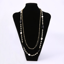 Korean Version Of The Popular Ladies Long Necklace Jewelry Multi-Layer Beaded Pendant Simple Fashion Wedding Party Accessories