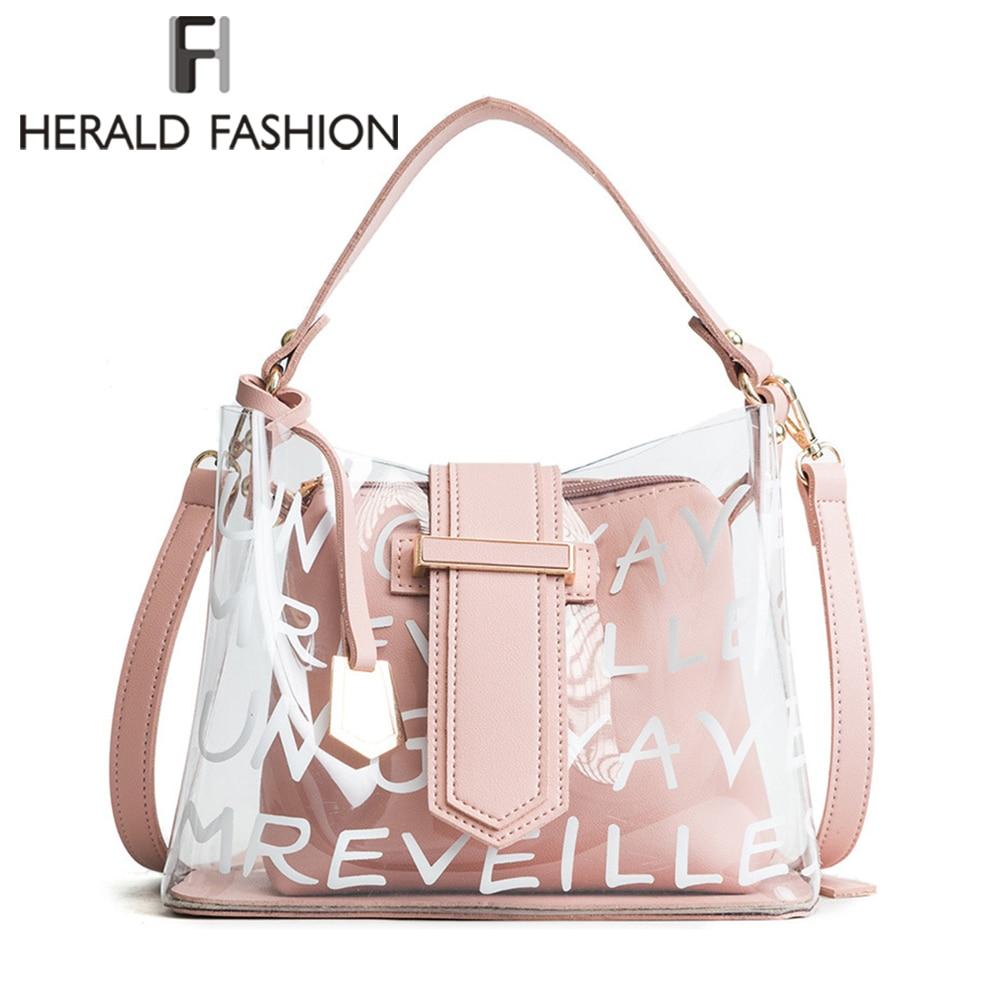 Herald Fashion Women's Bag Beach Large Storage Plastic Travel Bag Shoulder Messenger Bag Mother Bag and Lady's Transparent Cluth