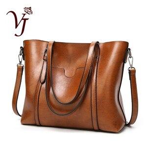 Image 1 - 高級婦人用バッグオイルワックスレザーショルダーバッグ財布ポケットの女性のハンドバッグ女性のメッセンジャーバッグビッグトートバッグbolso feminina