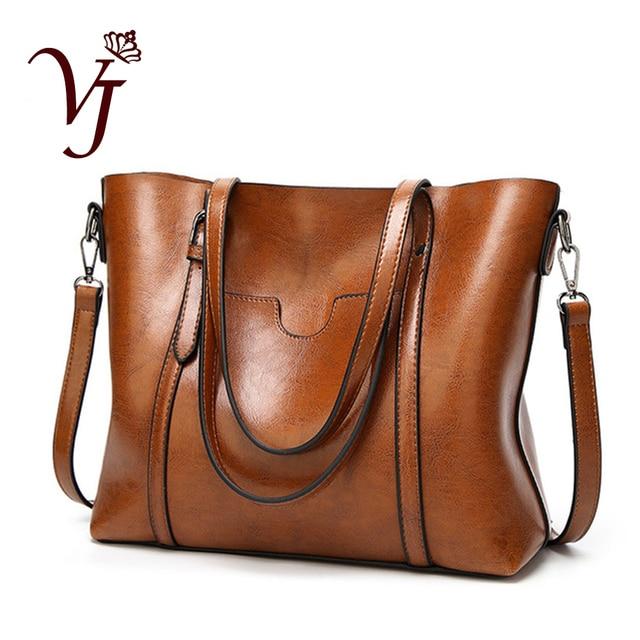 高級婦人用バッグオイルワックスレザーショルダーバッグ財布ポケットの女性のハンドバッグ女性のメッセンジャーバッグビッグトートバッグbolso feminina
