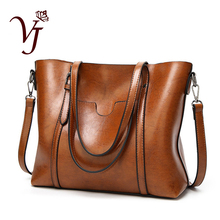 Luxury Womens Bag Oil wax Leather Shoulder Bags With Purse Pocket Lady Hand Bags Female messenger bag Big Tote Bolso Feminina