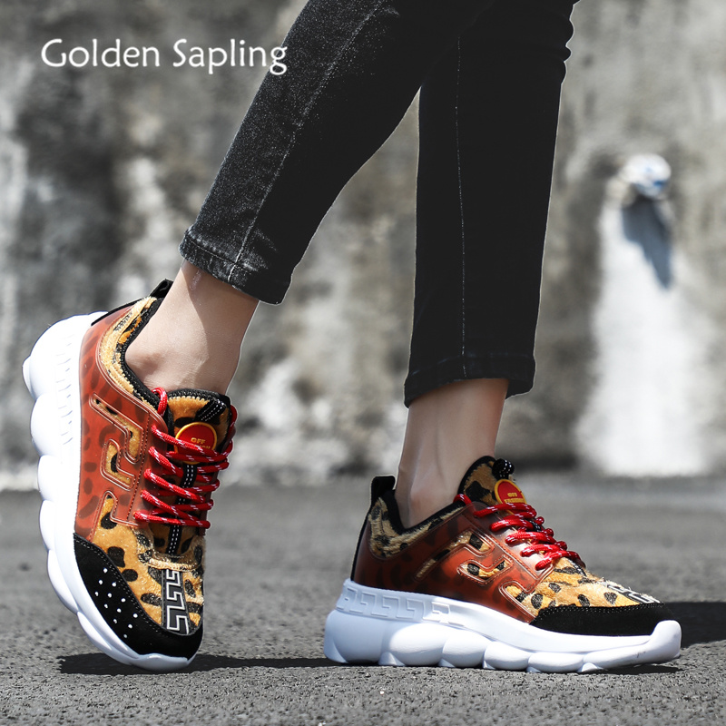 Golden Sapling Comfortable Sneakers Women Breathable Leather Womens Running Shoes Leopard Print Female Sneaker Woman Sport Shoes цена