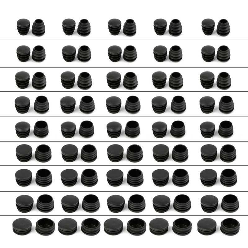 라운드 파이프 튜브에 대 한 10 pcs 검은 플라스틱 가구 다리 플러그 블랭킹 엔드 캡 마개 # sep.10
