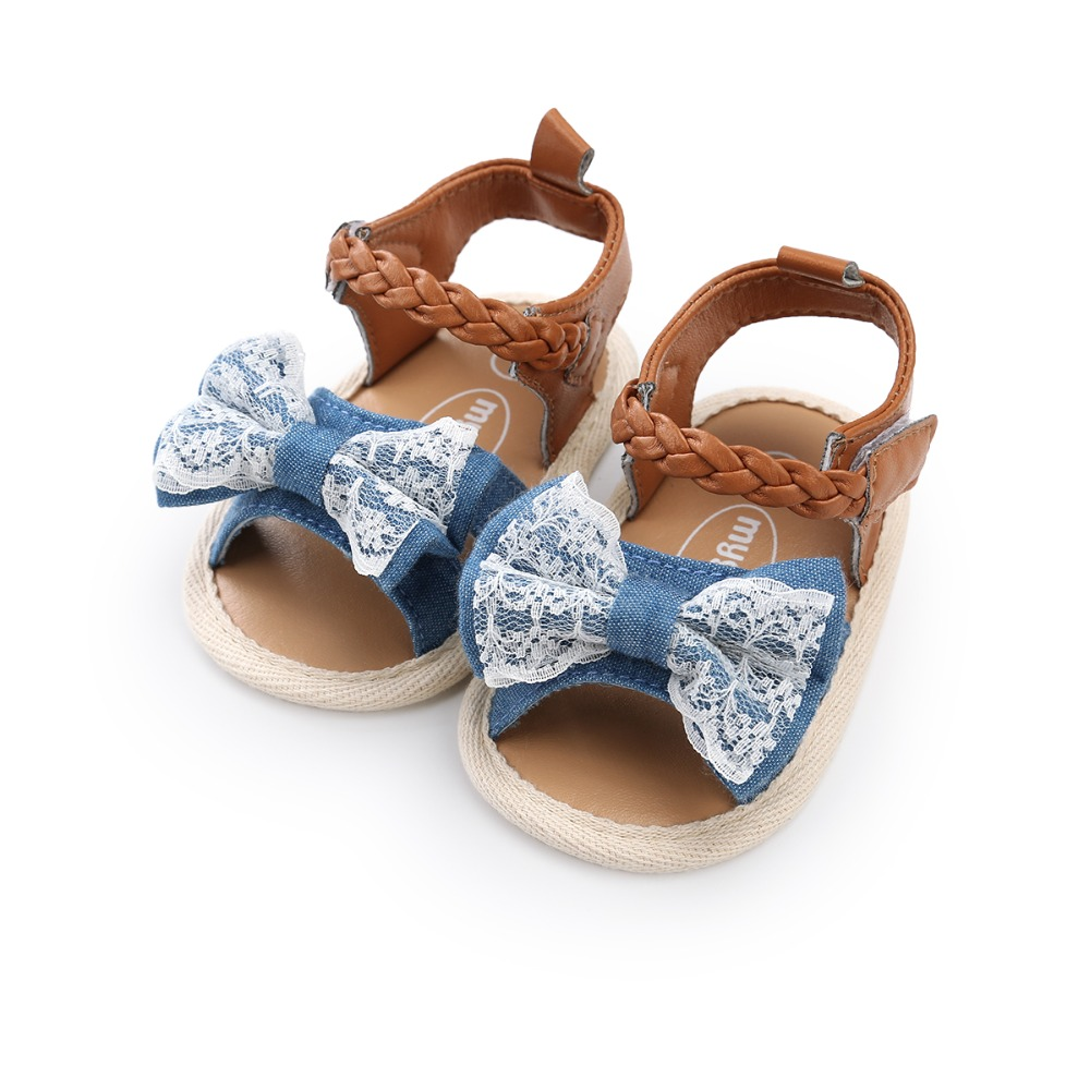 3 Style Butterfly Knot Baby Girl Sandals Lace Hook & Loop Soft Sole Toddlers Prewalkers For 0 18M Summer Baby Shoes Wholesale