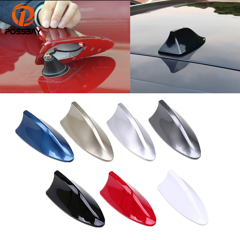 все цены на POSSBAY Universal Car Shark Fin Antenna AM/FM Signal Aerial for VW Polo Nissan Car Truck Roof Decoration Auto Shark Antennas