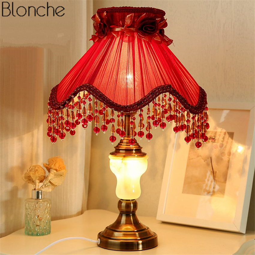 Vintage Red Wedding Table Lamp Led Desk Light Fabric Lampshade Lights for Princess Room Bedroom Bedside Lamps Home Fixtures Deco botimi wooden table lamp with fabric lampshade bedside desk lights lamparas de mesa book lamps deco luminaria reading lighting