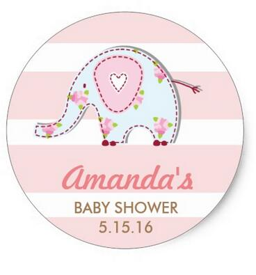1 5inch Shabby Chic Elephant Baby Shower Stickers In Stationery