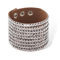 Crystal Combined Wide Leather Bracelet Punk Style Casual Wear Wrist Accessory Luster Appearance Free Shipping
