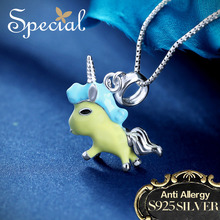 Special New Fashion 925 Sterling Silver Necklaces & Pendants Lovely Animal Maxi Necklace Enamel Jewelry Gifts for Women S1631N недорого