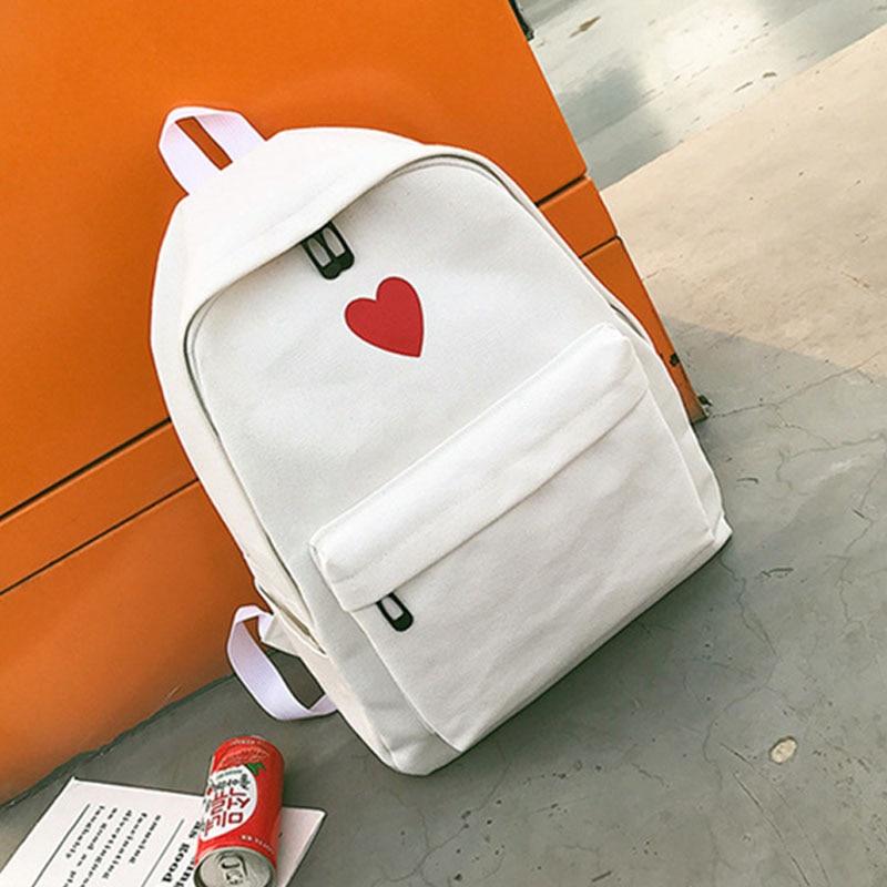 2 Pcs/set Hot Sale Women Love Heart Printed Canvas Backpack Lady Travel Bag Girls Students Pencil Case School Shoulder Bags