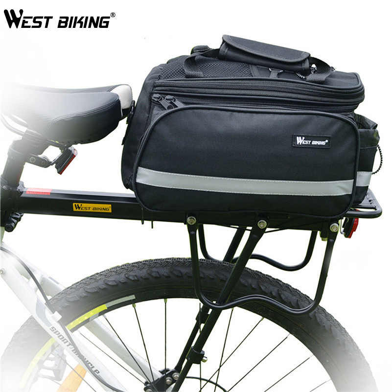 WEST BIKING Cycling Bicycle Back Rack+Bag+Raincover Set Cycling DH MTB Luggage Alloy Bike Cycle Cargo Bag, Rear Shelf+Raincover west biking bike chain wheel 39 53t bicycle crank 170 175mm fit speed 9 mtb road bike cycling bicycle crank