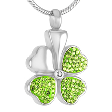 IJD8533 Stainless Steel Cremation Jewelry for Ashes Four-leaf Clover Pendant Locket Keepsake Memorial Urns Necklace Women