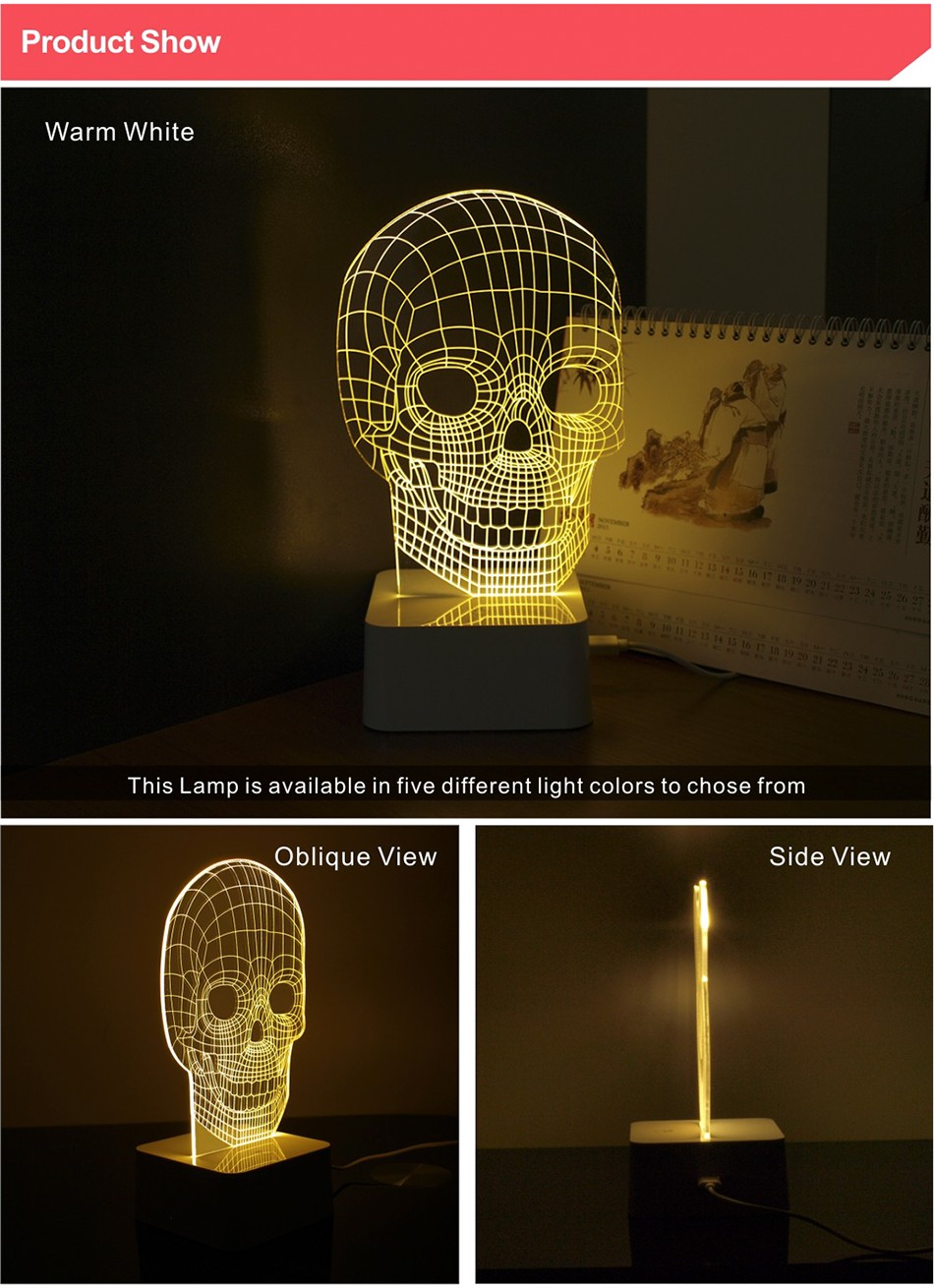 3d White Line Shadeless Terror Skull Dimmable 3d Led Light Bed Room Lamp  (2)