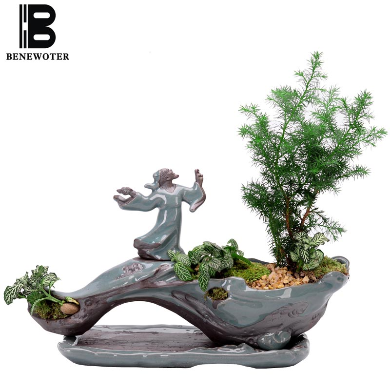 Créative Zen Style plante bonsaï plantes Pots pour fleur en céramique Pot de fleur maison jardin jardinières Patio décoration de bureau ornement