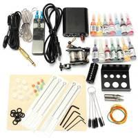 1 Set 90 264V Complete Equipment Tattoo Machine Gun 14 Color Inks Power Supply Cord Kit Body Beauty DIY Tools