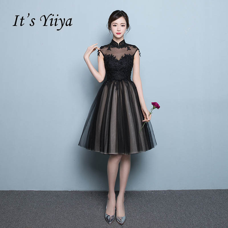 It's YiiYa   Prom     Dress   Black Beading Embroidery Knee-length Party   Dress   Zipper Sleeveless Formal Frocks LX078 In Stock