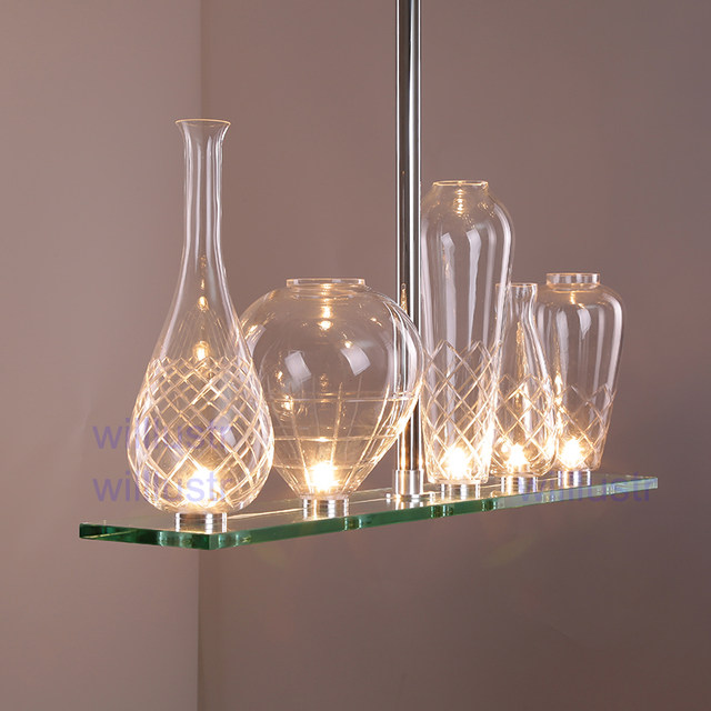 Willr Cicatrices De Luxe Crystal Glass Chandelier Hanging Light Philippe Starck Design Engraved Bottle Pendant Lamp