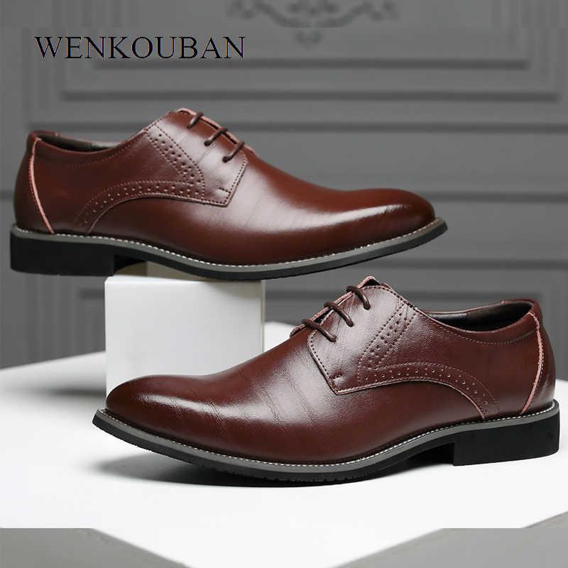Yaz moda erkek rahat ayakkabılar klasik hakiki deri daireler erkek resmi Oxford elbise ayakkabı lüks Zapatos Hombre artı boyutu 2020