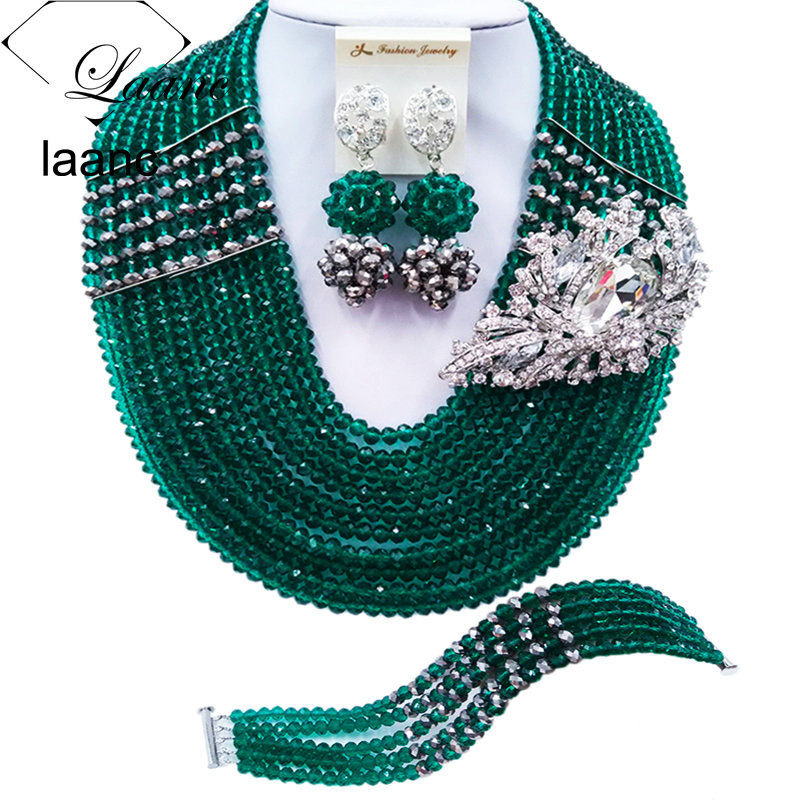 Laanc Latest Army Green Silver Crystal Nigerian Necklace Latest African Beads Jewelry Set for Wedding C22P042Laanc Latest Army Green Silver Crystal Nigerian Necklace Latest African Beads Jewelry Set for Wedding C22P042