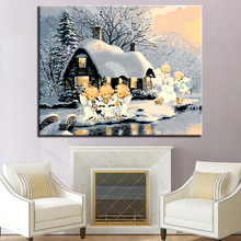 Forest Snow House And The Angel Children Picture By Numbers DIY Painting Kits Hand paited On Linen Canvas Modern Decor Wall