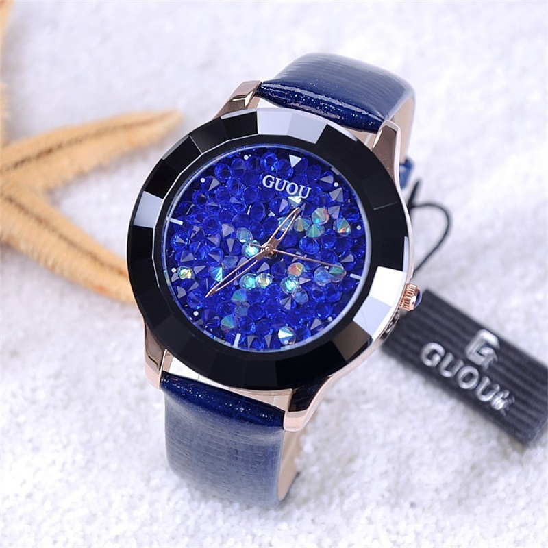 GUOU Watches Women Fashion Luxury Rhinestone Glitter Ladies Watch Leather Diamond Watch Hour Clock relogio feminino reloj mujer guou fashion bracelet women watches luxury brand ladies quartz wrist watch relogio feminino reloj mujer clock saat hodinky