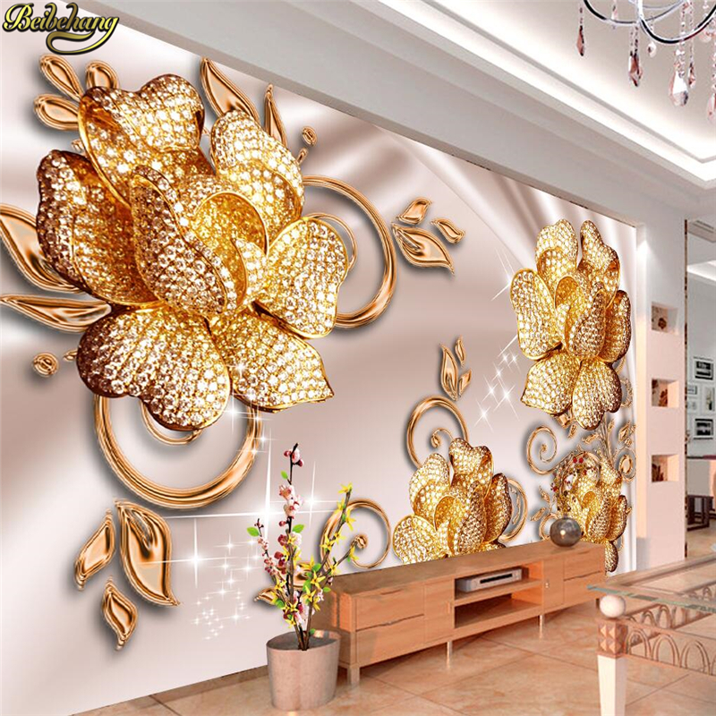 Large 3d European Pearl And Rose Jewelry Tv Background: Beibehang Custom Photo Wallpaper Mural Wall Sticker
