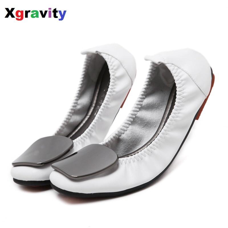 Hot Sale Big Size Concise Flat Shoe Elegant Comfortable Woman's Leisure Ballet Flats Fashion Woman Student Foldable Shoes C075