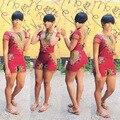 2016 Sexy Floral Imprimir Mulheres Set Tradicional Africano Dashiki Impressão tops e shorts totem Vermelho Two-Piece Conjuntos para mulheres