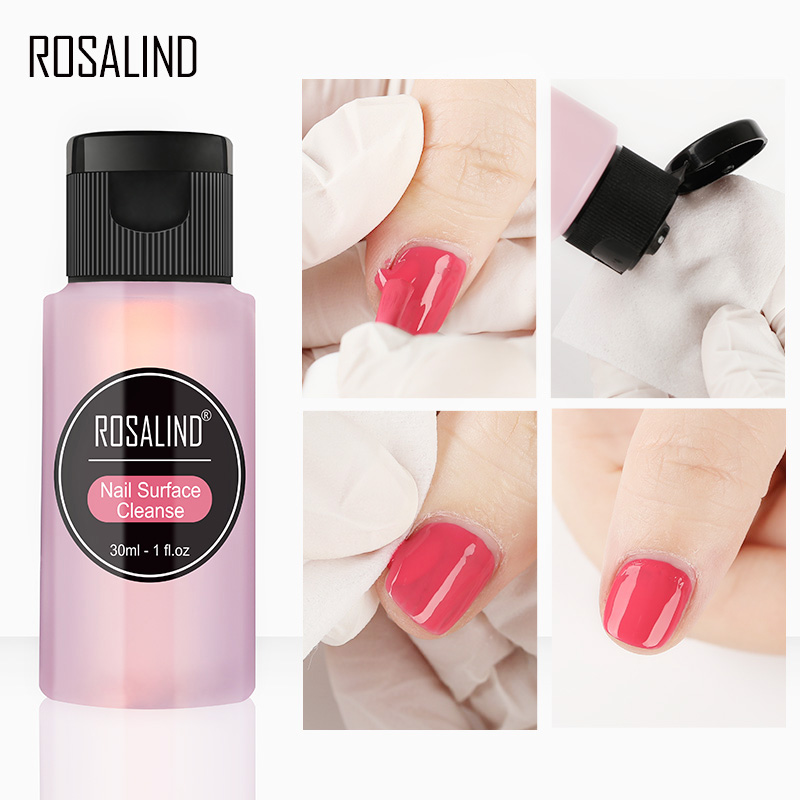 ROSALIND 30ml Nail Gel Wipe for Nail Surface Cleanse forNot Remover for nail gel Only to lighten the Surface of the Gel varnish