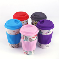 50 x Eco Friendly Bamboo Fiber Coffee Cups Creative Leisure Flower Series Drinking Cup With Silicone Lid