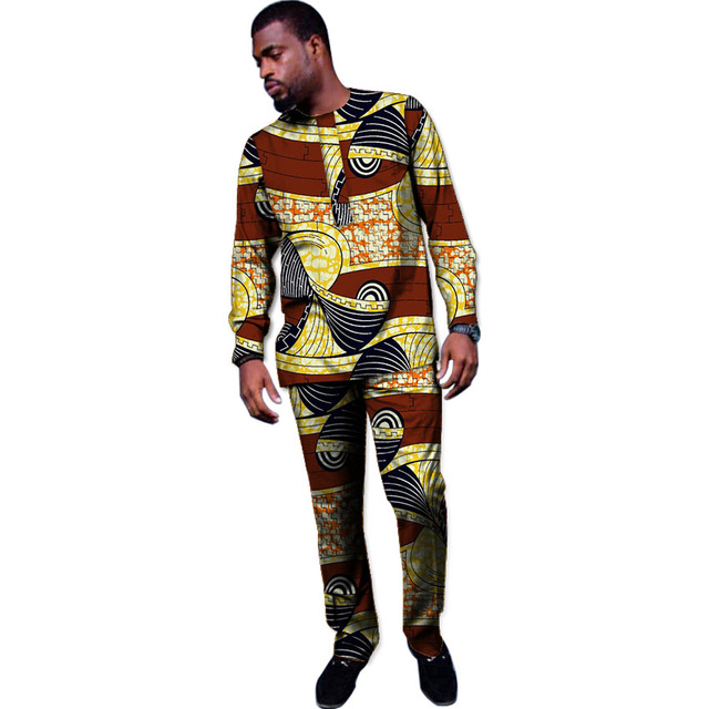 954568c5 African print clothing customized men suits Ankara tops+trousers dashiki  clothes male shirt&pant 2 pieces set