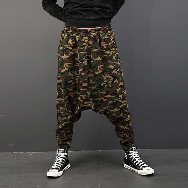 0325e2503f6a9 New Arrival Personality Printed Camouflage Harem Pants Men Fashion Hip-hop  Big Baggy Drop Crotch Pants Loose Dancer Trousers