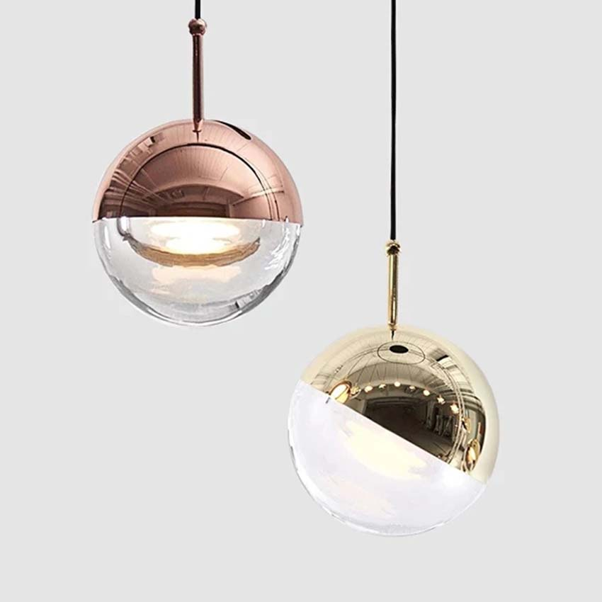 Metal Acrylic Led Pendant Light Modern Gold/rose Gold 10cm Ball Suspension Luminaria Dining Room Restaurant Bar Stair Hang Lamps