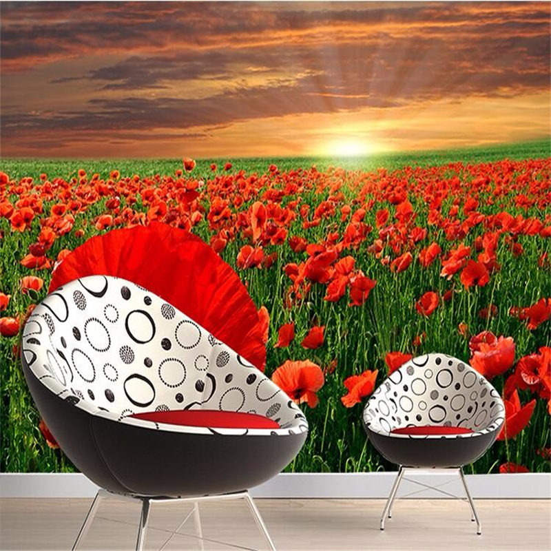Beibehang Photo Wallpaper 3D Modern Minimalist Sofa Backdrop Beautiful  Poppy Flower Garden Large Mural 3d Wall Murals Wallpaper