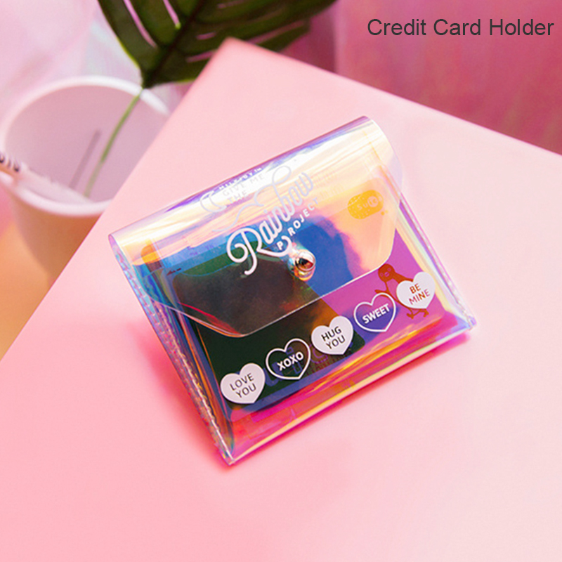 Small Laser Hologram Money Bag Women PVC Clear Credit Card