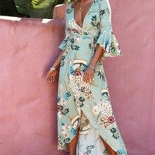 TUT OUTRO Summer 2018 Summer Maxi Dress Sex Women DeepV Neck Sundress Beach Floral  Print Long cb1d793b1e58