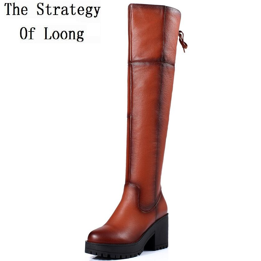 Women Autumn Winter Thick High Heel Side Zipper Genuine Leather Round Toe Fashion Over The Knee Boots SXQ0806 women autumn winter genuine leather thick mid heel side zipper round toe 2015 new fashion ankle boots size 34 39 sxq0905